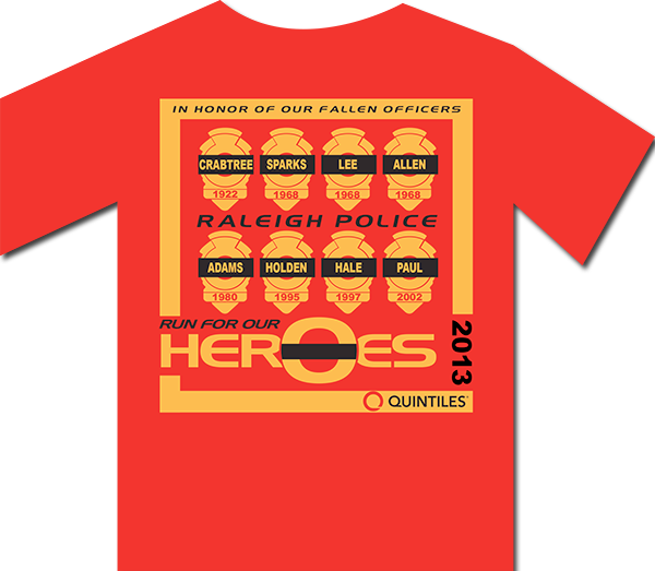 Run for Heros t-shirt 2013